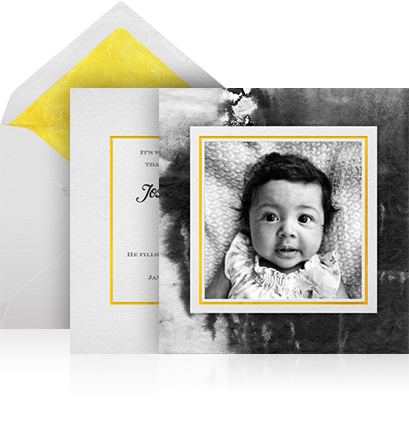 Online birth announcement two paged photo card with customized envelope.