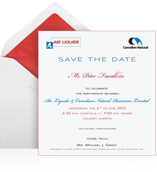 Air Liquide / Canadian Natural Gas Celebration  Corporate Invitation Format
