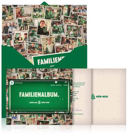 Online Christmas card example with animated envelope and video integration by German Bundesliga Club Werder Bremen.
