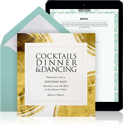 Online Cocktail Invitation Example For A Single With White Envelope Lining And