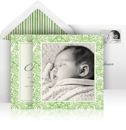 Online Christening invitation example with 2 green floral designer cards including a cover card for the photo and a 2nd card for the text.