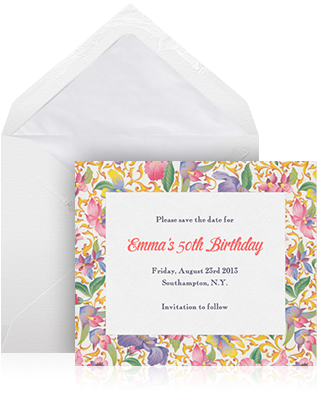Online save the date example sending with standard white envelope and white lining with lovely floral card.