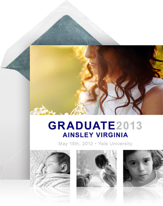 Online graduation save the date example sending with the standard white envelope and a designer photo card.