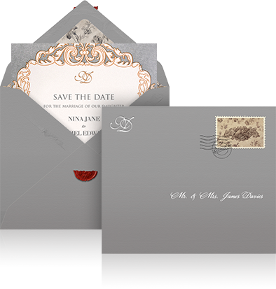 Online Wedding save the date example sending with grey envelope, customized lining and designer card.