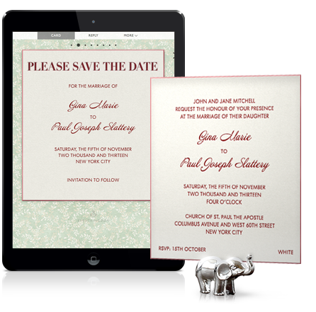 Online Wedding Save The Date Matching A Planned Paper Invitation
