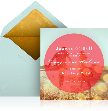 Online engagement invitation with photo card and customized envelope