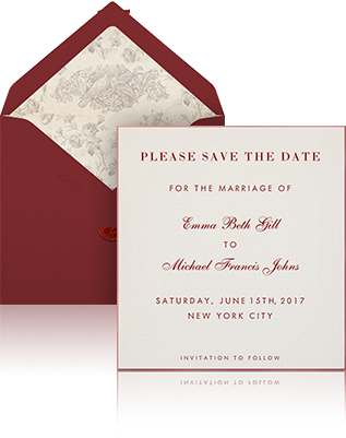 Learn more wedding collection eventkingdom online wedding save the date example sending with white envelope burgundy silk lining and beige stopboris Image collections