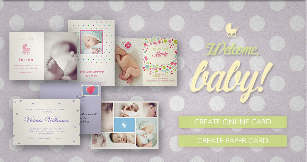 Customizable Designer Birth Announcement cards for online sendings and/or paper cards