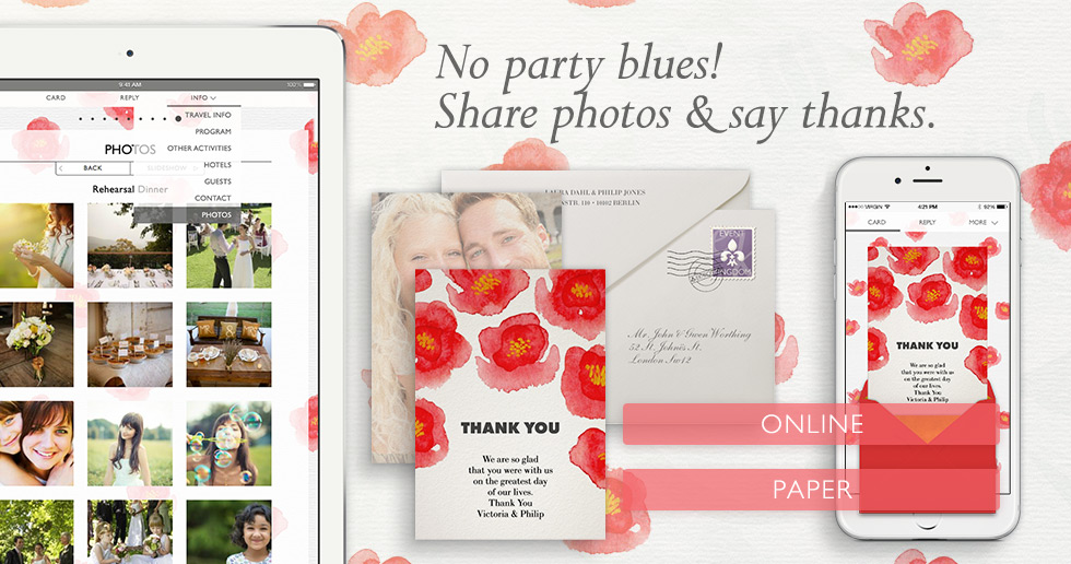 Share Wedding photos easily and for free and thank guests with a beautiful Thank you card online or on paper.