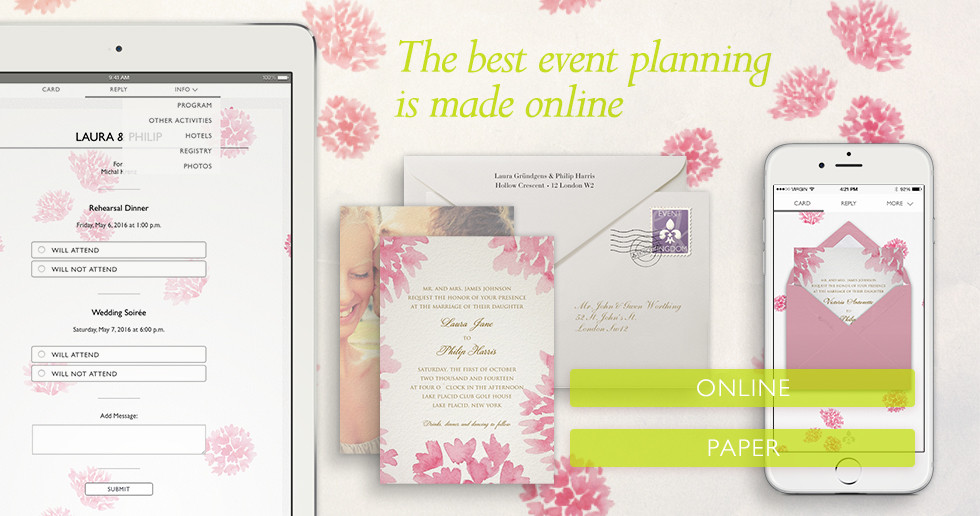 Wedding invitations online via Email with monitoring and guest management or on fine paper with matching envelopes.