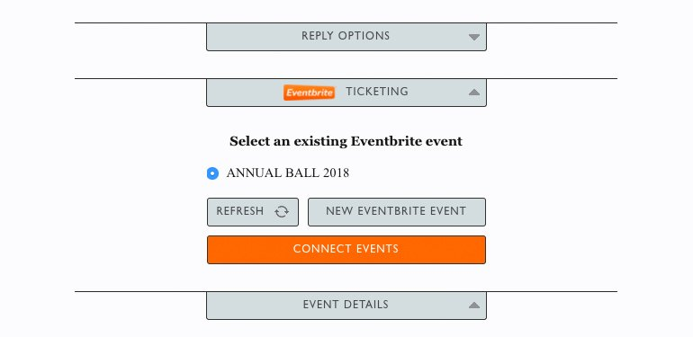 Select Eventbrite event to link to your sending