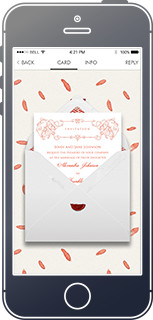 Online wedding invitation with customized envelope and background