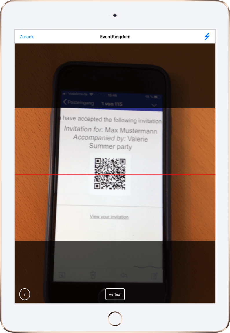QR code reader to quickly check in guests by scanning their check in QR codes