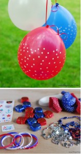 Decoration idea with blue, red, white balloon.