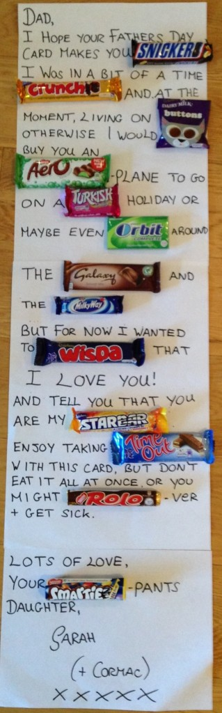 Father's Day card with candy bars.