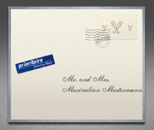 Creme envelope front with silver frame
