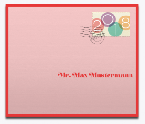 Rosa envelope with red frame and 2018 stamp