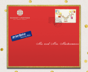Red online envelope with golden frame