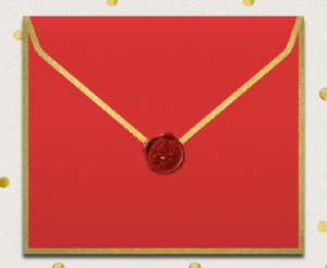 Red online envelope back with golden frame