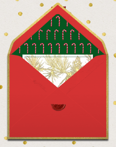Animated red envelope with golden frame opening